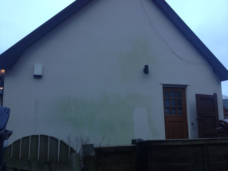 Green algae on render Chorley Lancashire